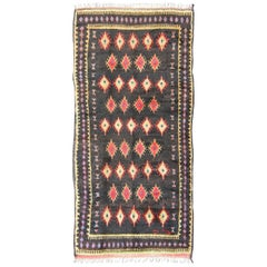 Charcoal Black Background Unique Vintage Moroccan Rug in Red and Yellow