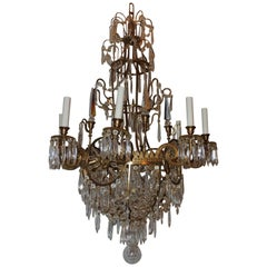 French Regency Empire Neoclassical Baltic Six-Light Doré Bronze Chandelier