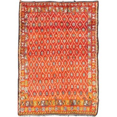 Orange and Red Background Vintage Moroccan Rug with All-Over Diamond Pattern