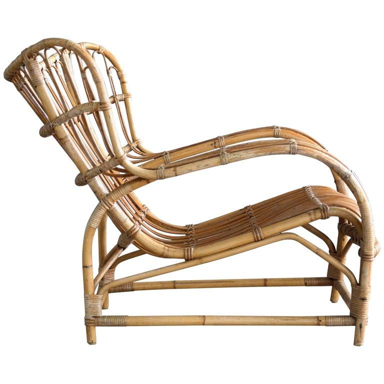 Viggo Boesen Model VB 136 Rattan Lounge Chair for E.V.A. Nissen