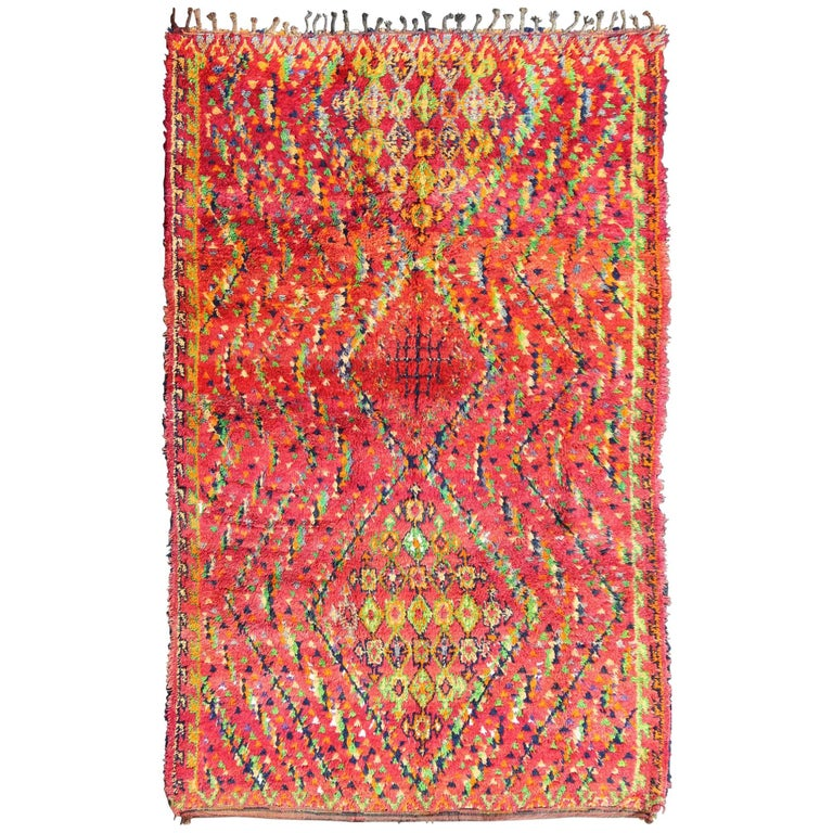 Mid-Century Tribal Moroccan Vintage Rug with Colorful, Vibrant Diamond Pattern