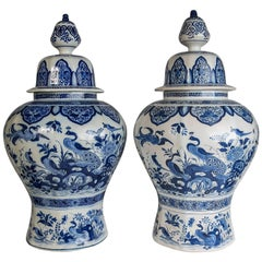 Blue and White Delft Ginger Jars a Pair