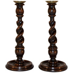 19th Century Pair of English Candlesticks