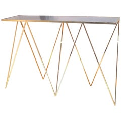 Solid Brass Giraffe Console Table with Polished Steel Top