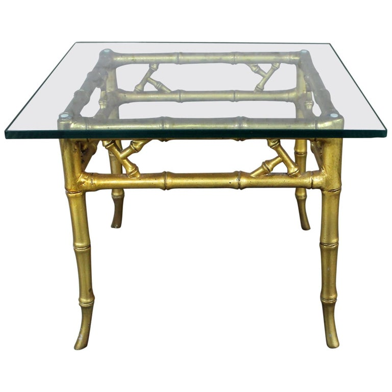Italian Gold Gilt Iron And Glass Faux Bamboo Metal Square: Phyllis Morris Style Gilt Faux Bamboo Side Table Vintage