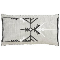"Schumacher Artigianale Italian Hand-Woven Black White 48"" Floor Pillow"
