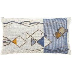 "Schumacher Artigianale Italian Hand-Woven Mediterraneo Blue 49"" Floor Pillow"