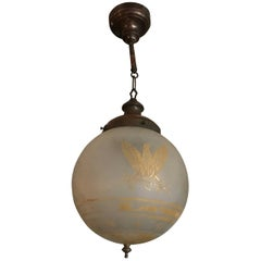 1920s Acid Etched Frosted Glass Federal Style Globe Pendant Light