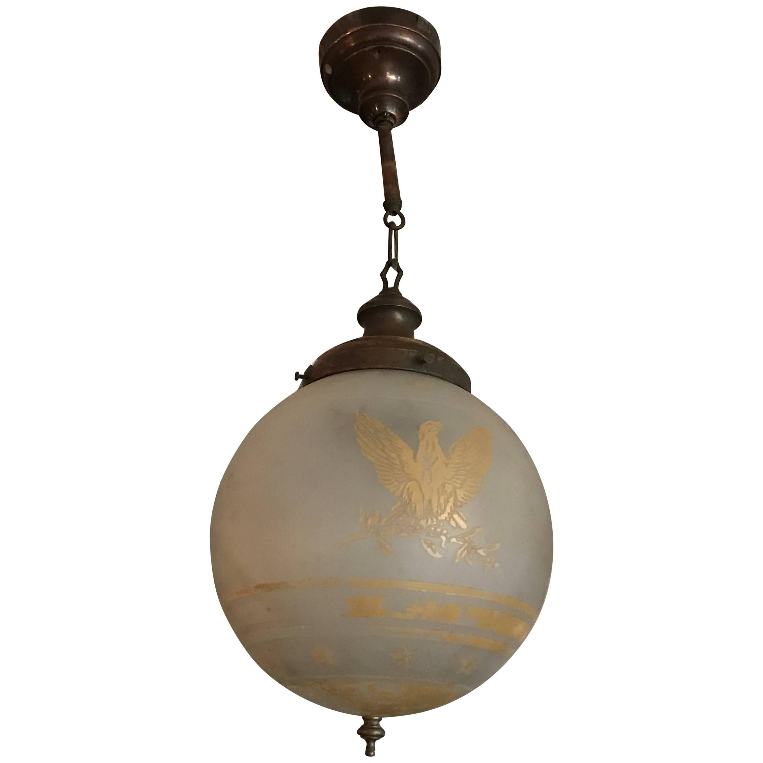 1920s acid etched frosted glass federal style globe pendant light 1