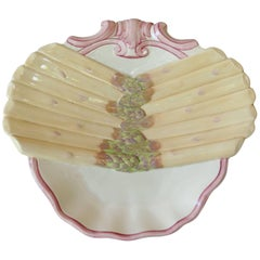 19th Century Majolica Asparagus Plate Sarreguemines