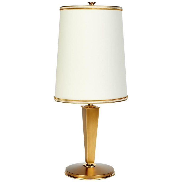 Gênet Et Michon Small Bronze Table Lamp France 1950s At