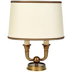 Elegant Genet Michon Bronze Table Lamp, France 1940s
