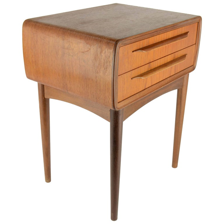 Teak Danish Nightstand By Johannes Andersen For Cfc Silkeborg 1960s At 1stdibs