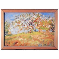 """Flowering Apple Tree,"" Lovely American Impressionist Painting in White & Gold"