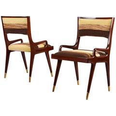 Exceptional Pair of Mahogany Armchairs, Italy, 1950s
