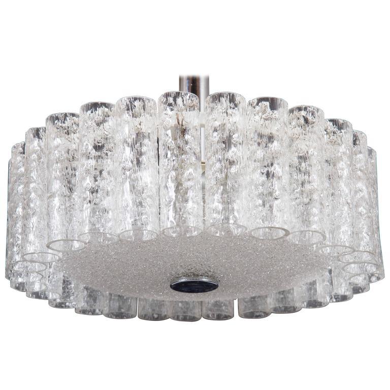 Elegant German Mid-Century Doria Textured Glass Chandelier For Sale