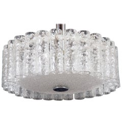 Elegant German Mid-Century Doria Textured Glass Chandelier