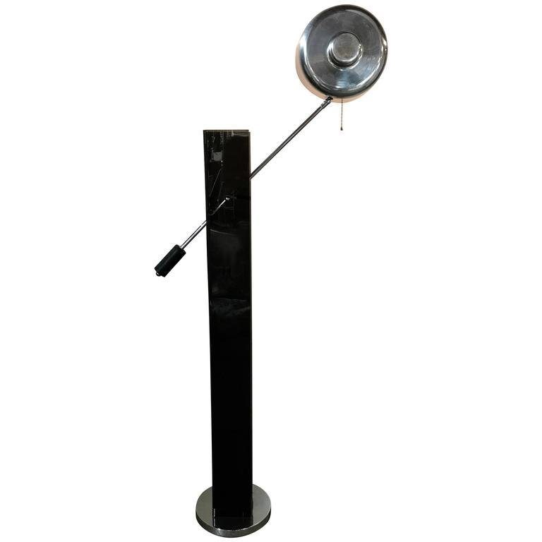 Mid-Century Modern Black Acrylic and Chrome Adjustable Arm Floor Lamp For Sale
