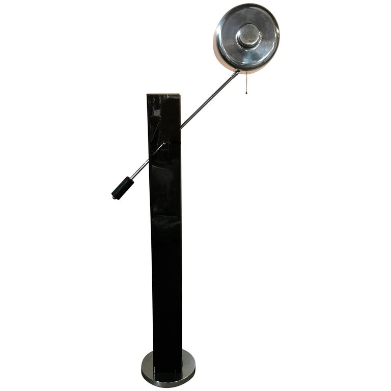 Mid century modern chrome adjustable floor lamp for sale at 1stdibs mid century modern black acrylic and chrome adjustable arm floor lamp aloadofball Gallery