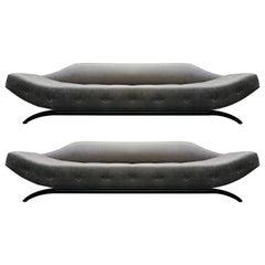 Rare Pair of Mid-Century Gondola Style Sofas