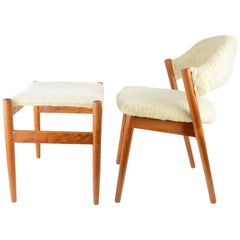 Elegant Danish Dressing Chair and Ottoman in Oak and Sheepskin