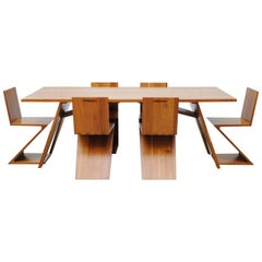 Custom-Made Gerrit Rietveld Inspired Solid Cherry Dining Set