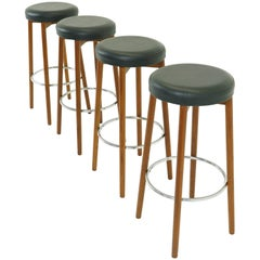 Teak Bar Stools by Hugo Frandsen for Spottrup, Set of Four