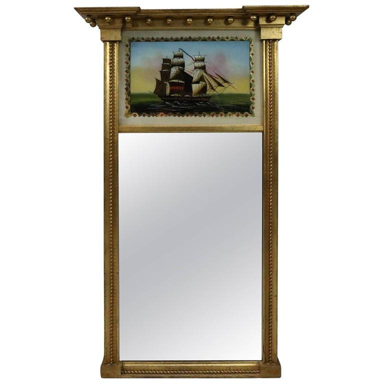 Vintage Federal Style 201 Glomise Gilt Trumeau Mirror With