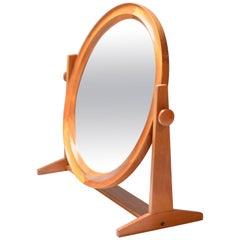Large Round Teak Mirror by Pedersen & Hansen