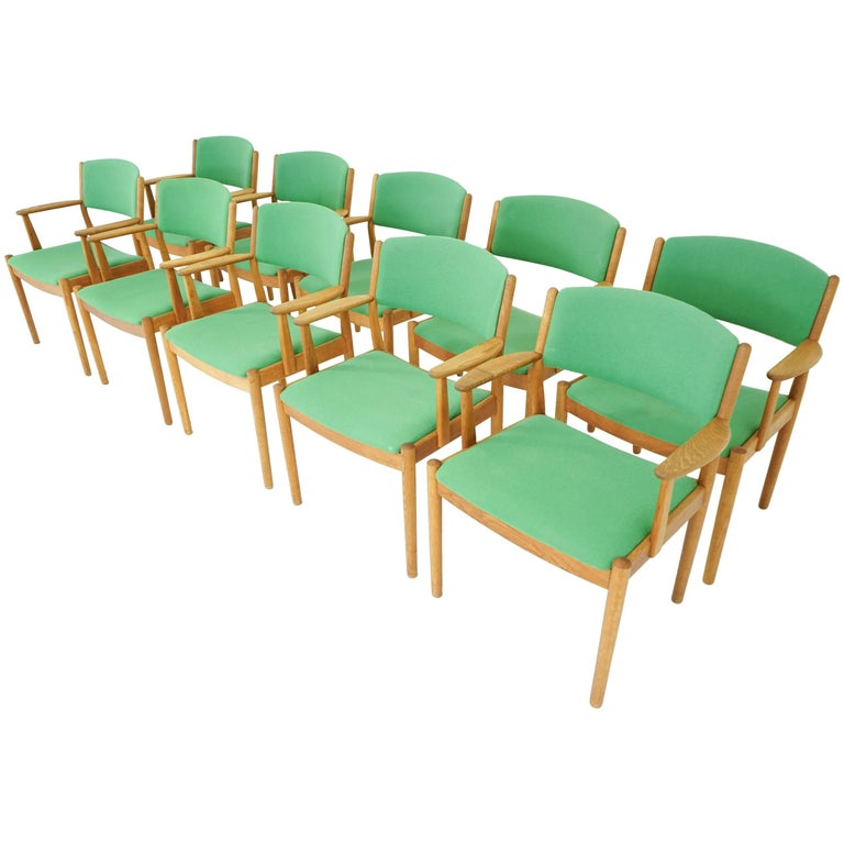 Oak Dining Chairs by Poul Volther for FDB, Set of Ten