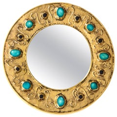 François Lembo Mirror Gold Jeweled Turquoise Signed, France, 1970s