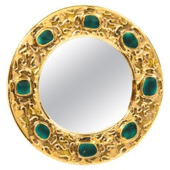 Francois Lembo Mirror, Ceramic, Jeweled, Gold and Green, Signed