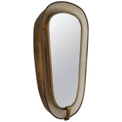 Art Deco Back-Lit Wall Mirror with Deep Brass Frame