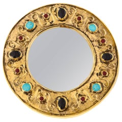 Lembo Mirror Jewels Gold Black Turquoise Signed, France, 1970s