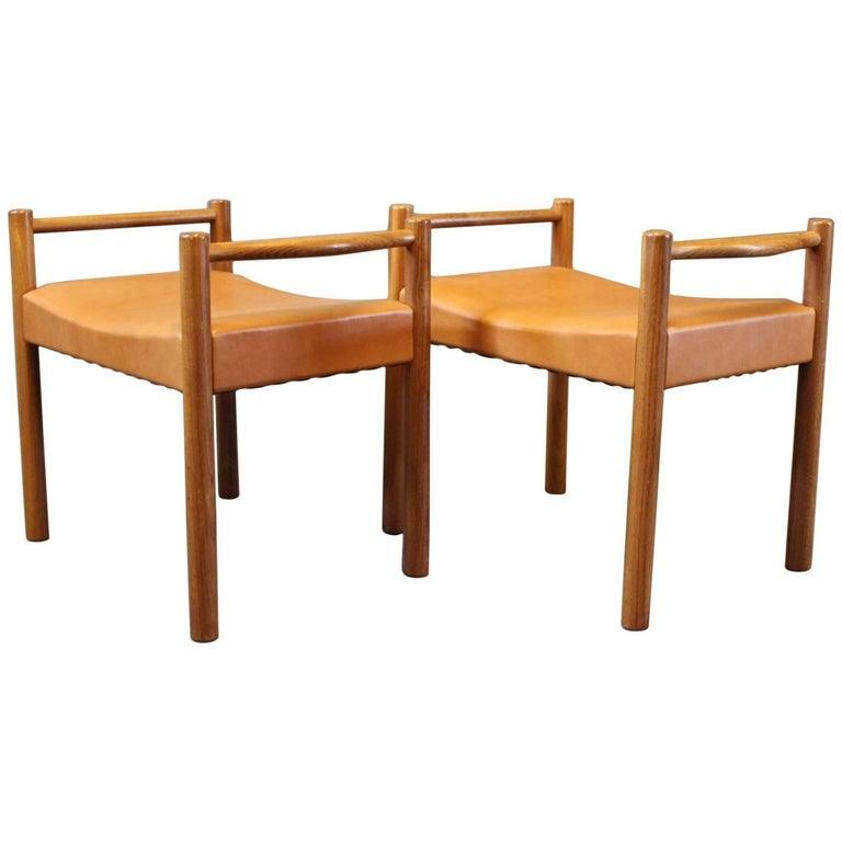 Pair of Stools in Elegance Leather of Danish Design, 1960s