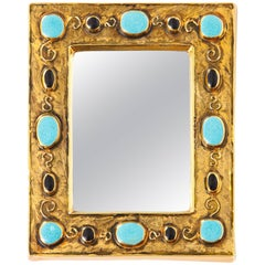 Francois Lembo Ceramic Mirror Jeweled Gold Black Turquoise Signed France, 1970s