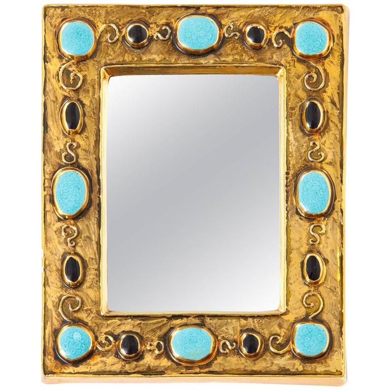 Francois Lembo Ceramic Mirror Jeweled Gold Black Turquoise Signed France, 1970s