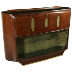 Bar Cabinet Rosewood Veneer Glass Carved and Gilded Wood Brass Vintage, Italy