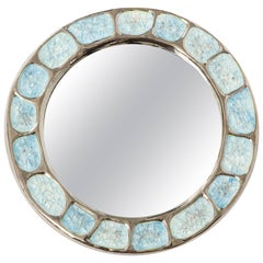 Francois Lembo Ceramic Mirror Metallic Silver Chrome Blue Round, France, 1970s