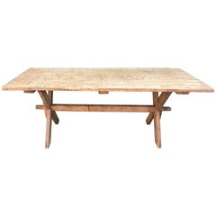 Long Antique Industrial Farm Table with Original Boards