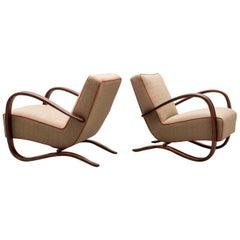 Pair of Lounge Chairs H269 by Jindrich Halabala, Czechoslovakia, 1930s