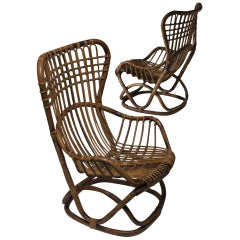 Pair of Wicker Lounge Chairs by Tito Agnoli for Bonacina