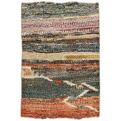 Vintage Persian Gabbeh Rug with Abstract Pattern