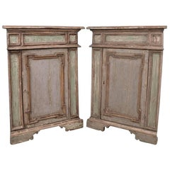 Pair of 19th Century Italian Corner Cupboards