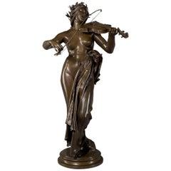 'La Musique', Bronze Sculpture by Delaplanche, French, circa 1872