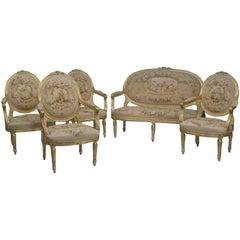 Five-Piece Louis XVI Style Salon Suite, French, circa 1880