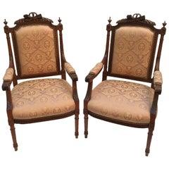 Pair of 20th Century Italian Walnut Armchairs Louis XVI Style Pink Gold Damask