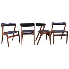 Set of Four Sculptural Teak and Chairs in Style of Kai Kristiansen