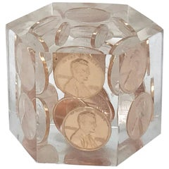 1980s Lucite and Copper Penny Paperweight
