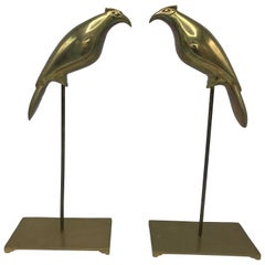 1960s Italian Brass Parakeet Bird Sculptures on Stand, Pair